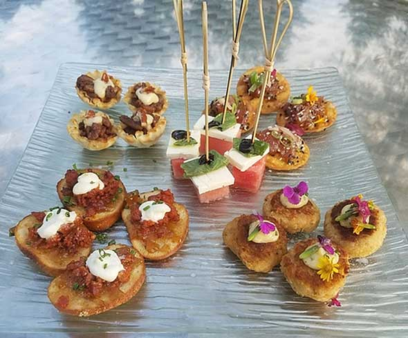 Photo of appetizers prepared by food management service for assisted living community.