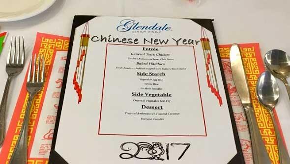 Photo of senior living food service chinese new year menu.