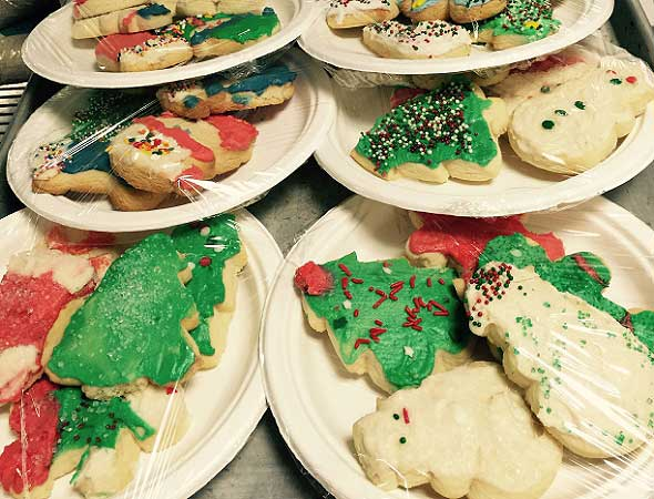 Photo of a plate of home made cookies by the assisted living food service.