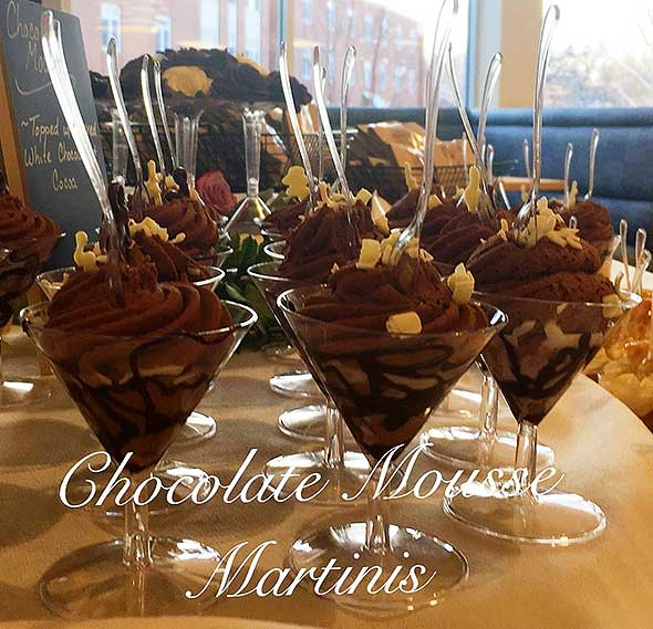 Photo of chocolate mousse prepared by senior living food service.