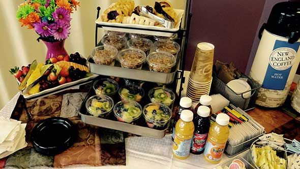 Photo of casual food service station in assisted living community.