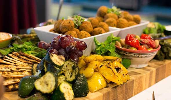 Photo of senior living food service display.