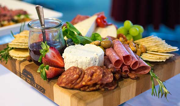 Photo of high-quality appetizers for senior living event.