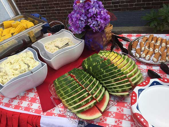 Photo of senior care foodservice display on the patio.