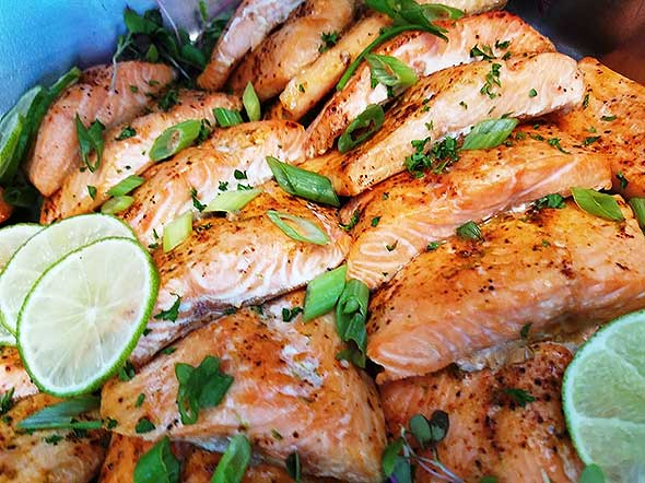 Photo of grilled salmon plate.