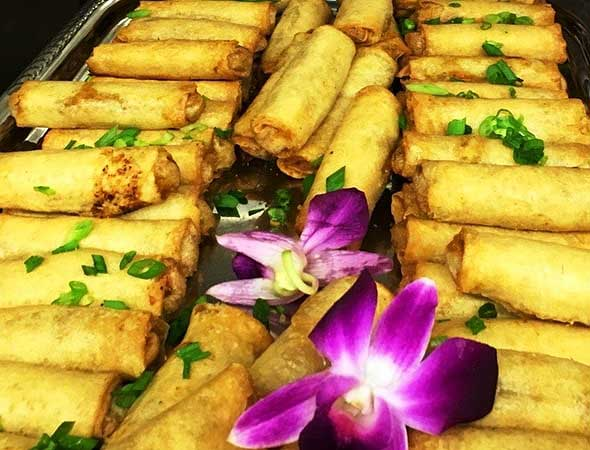 Photo of spring rolls made by the senior living food service.